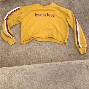 """Love is love"" cropped comfy yellow sweatshirt"